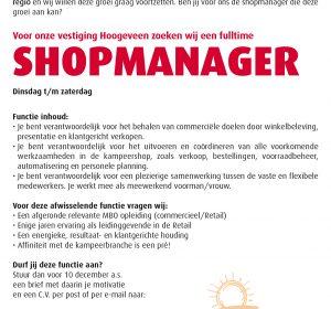Vacature Shopmanager Hoogeveen
