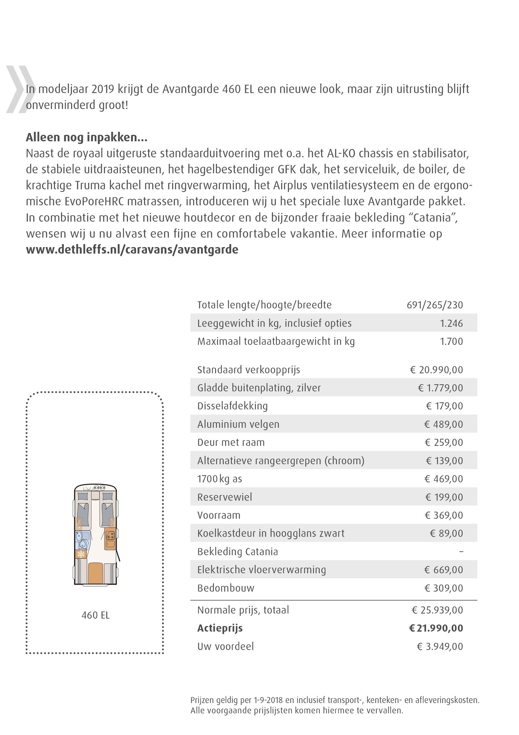 Dethleffs Avantgarde technische gegevens en prijs